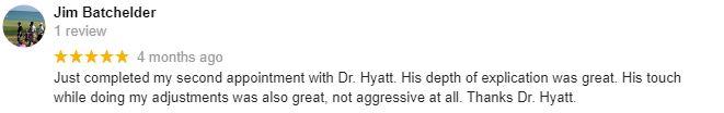 Chiropractic Oak Creek WI Patient Testimonial at Hyatt Chiropractic